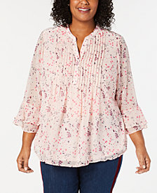 Charter Club Plus Size Floral Double-Ruffle Blouse, Created for Macy's