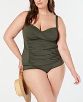da0241448af La Blanca Plus Size Twist-Front Ruched Tankini Top   High-Waist Brief  Bottoms