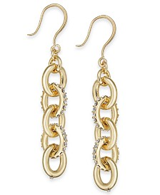 "Charter Club Medium Gold-Tone Pavé Link Linear Drop Earrings, 1.5"", Created for Macy's"