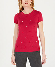 Maison Jules Faux-Pearl Short-Sleeve Sweater, Created for Macy's