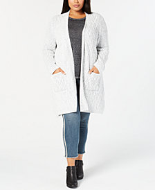 Style & Co Plus Size Chenille Long Cardigan Sweater, Created for Macy's