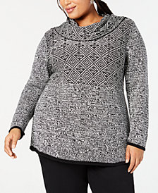 Style & Co Plus Size Mixed-Pattern Tunic Top, Created for Macy's