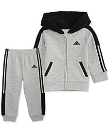 adidas Baby Boys 2-Pc. Hooded Track Jacket & Jogger Pants Set