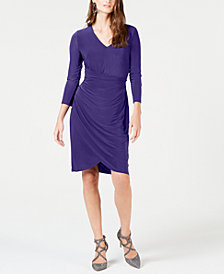I.N.C. Ruched 3/4-Sleeve Dress, Created for Macy's