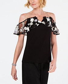 MSK Illusion Floral Off-The-Shoulder Top