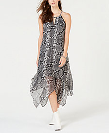 I.N.C. Printed Handkerchief-Hem Dress, Created for Macy's