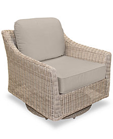 Willough Wicker Swivel Glider: With Custom Sunbrella® Colors, Created For Macy's