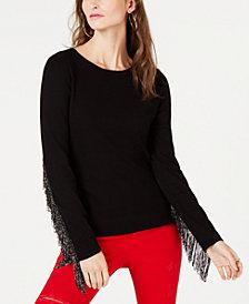 I.N.C. Metallic Fringe-Trim Sweater, Created for Macy's