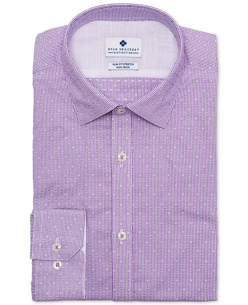 Ryan Seacrest Distinction Men's Ultimate Slim-Fit Non-Iron Performance Stretch Lilac Dobby Stripe Dress Shirt, Created for Macy's