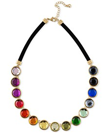"Gold-Tone Multicolor Crystal Faux Suede Collar Necklace, 16"" + 2"" extender"