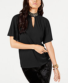 MICHAEL Michael Kors Grommet-Trim Top, in Regular and Petite Sizes