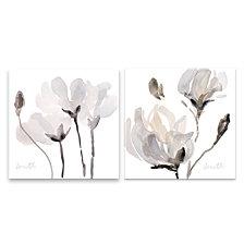 Tonal Magnolias Hand Embellished Canvas