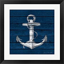 Anchor on Blue Wood by Lanie Loreth Framed Art
