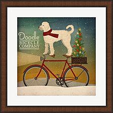 White Doodle on Bike Christmas by Ryan Fowler Framed Art