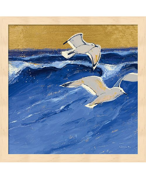 Metaverse Seagulls With Gold Sky Iii By Shirley Novak Framed Art