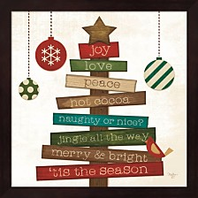 Christmas Tree Sentiments By Mollie B. Framed Art