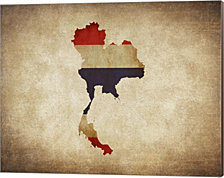 Map with Flag Overlay Thailand by Color Me Happy Canvas Art