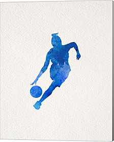 Basketball Girl Watercolor Silhouette Part II by Sports Mania Canvas Art