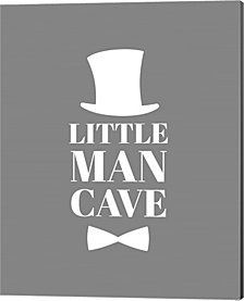 Little Man Cave Top Hat And Bow Tie - Gray By Color Me Happy Canvas Art