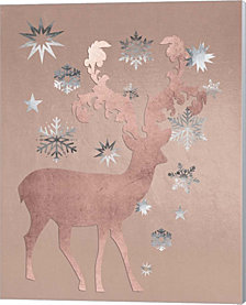 Park Avenue Rosegold Deer in the Silver Snow by Tina Lavoie Canvas Art