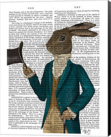 Hare In Turquoise Coat By Fab Funky Canvas Art