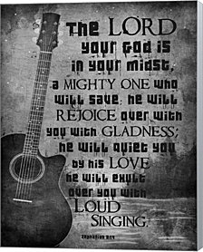 Zephaniah 3:17 The Lord Your God (Guitar Black & White) by Inspire Me Canvas Art