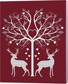 Christmas Des - Deer And Heart Tree, Grey On Red By Fab Funky Canvas Art