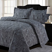Lyon Microfiber Paisley Printed Oversized Quilt Set Collection