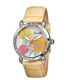 Bertha Quartz Josephine Collection Silver And Yellow Leather Watch 38Mm
