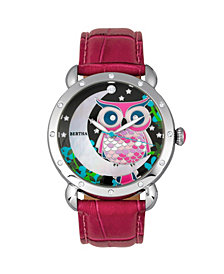 Bertha Quartz Ashley Collection Silver And Red Leather Watch 38Mm