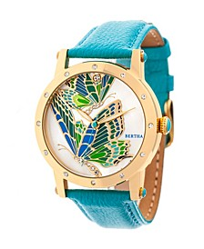 Quartz Isabella Collection Gold And Turquoise Leather Watch 38Mm