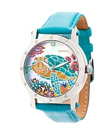 Bertha Quartz Chelsea Collection Silver And Turquoise Leather Watch 38Mm