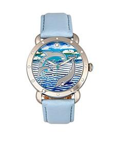Quartz Estella Collection Silver And Powder Blue Leather Watch 38Mm