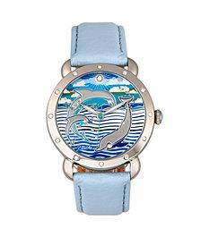 Bertha Quartz Estella Collection Silver And Powder Blue Leather Watch 38Mm