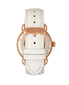Bertha Quartz Estella Collection Rose Gold And White Leather Watch 38Mm