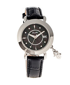 Bertha Quartz Hannah Collection Silver And Black Leather Watch 35Mm