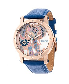 Bertha Quartz Betsy Collection Rose Gold And Blue Leather Watch 38Mm