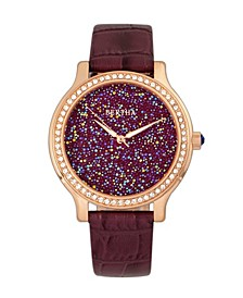 Quartz Cora Collection Plum Leather Watch 40Mm