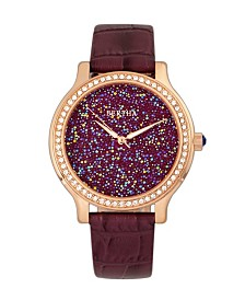 Bertha Quartz Cora Collection Plum Leather Watch 40Mm