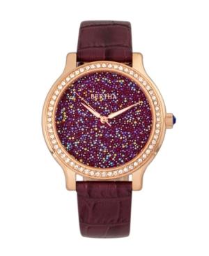 Quartz Cora Collection Plum Leather Watch 40Mm