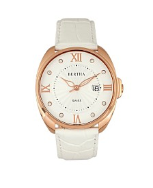 Bertha Quartz Amelia Collection White Leather Watch 38Mm