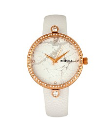 Bertha Quartz Frances Collection Rose Gold And White Leather Watch 37Mm