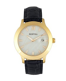 Bertha Quartz Eden Collection Black And Gold Leather Watch 38Mm