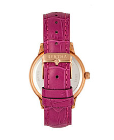 Bertha Quartz Eden Collection Fuchsia And Rose Gold Leather Watch 38Mm