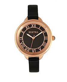 Bertha Quartz Madison Collection Black And Rose Gold Leather Watch 36Mm