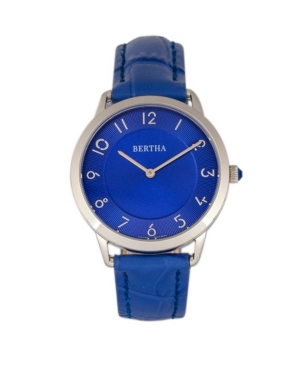 Bertha Quartz Abby Collection Silver And Blue Leather Watch 33Mm