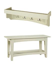 Shaker Cottage Tray Shelf Coat Hook with Bench Set