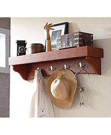 Shaker Cottage Coat Hooks with Tray Shelf, Cherry