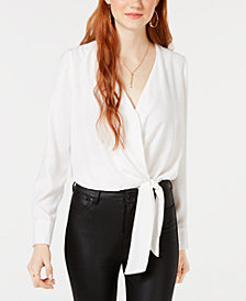XOXO Juniors' Tie-Front Surplice-Neck Bodysuit