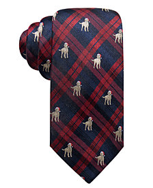 Club Room Men's Holiday Plaid Dog Silk Tie, Created for Macy's